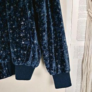 Vintage Jackets & Coats - VTG Midnight Blue & Gold Star Velour Bomber Jacket